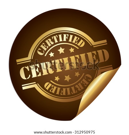 Brown Circle Certified Infographics Peeling Sticker, Label, Icon, Sign or Badge Isolated on White Background