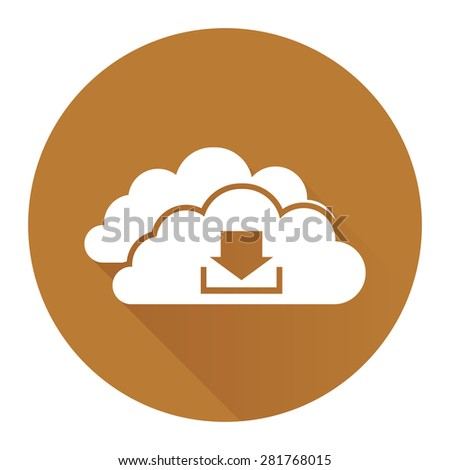 Brown Circle Cloud Computing With Download Flat Long Shadow Style Icon, Label, Sticker, Sign or Banner Isolated on White Background - stock photo