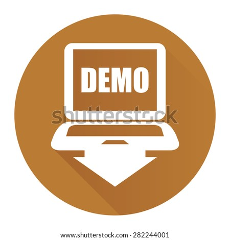 Brown Circle Computer Laptop With Demo Text on Screen Monitor Flat Long Shadow Style Icon, Label, Sticker, Sign or Banner Isolated on White Background - stock photo