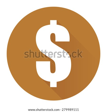Brown Circle Dollar Currency Flat Long Shadow Style Icon, Label, Sticker, Sign or Banner Isolated on White Background
