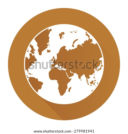 Brown Circle Earth Planet Flat Long Shadow Style Icon, Label, Sticker, Sign or Banner Isolated on White Background - stock photo
