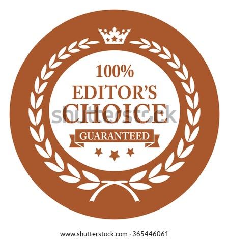 Brown Circle 100% Editor's Choice Guaranteed, Campaign Promotion, Product Label, Infographics Flat Icon, Sign, Sticker Isolated on White Background  - stock photo
