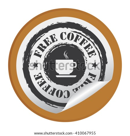 Brown Circle Free Coffee - Product Label, Campaign Promotion Infographics Flat Icon, Peeling Sticker, Sign Isolated on White Background  - stock photo