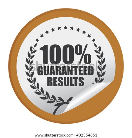 Brown Circle 100% Guaranteed Reliable Product Label, Campaign Promotion Infographics Flat Icon, Peeling Sticker, Sign Isolated on White Background  - stock photo