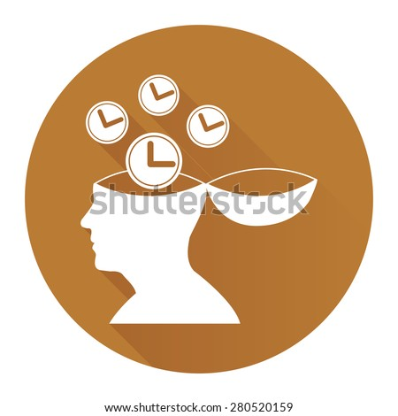 Brown Circle Head With Clock, Time Saving, Time Management Flat Long Shadow Style Icon, Label, Sticker, Sign or Banner Isolated on White Background - stock photo