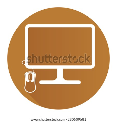 Brown Circle PC Computer Monitor with Mouse Flat Long Shadow Style Icon, Label, Sticker, Sign or Banner Isolated on White Background - stock photo