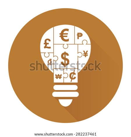 Brown Circle Various Currency Sign Puzzle in Light Bulb Flat Long Shadow Style Icon, Label, Sticker, Sign or Banner Isolated on White Background - stock photo