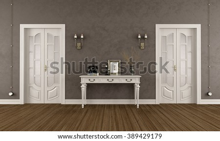 Brown classic room with  two closed doors and elegant console table - 3D Rendering - stock photo