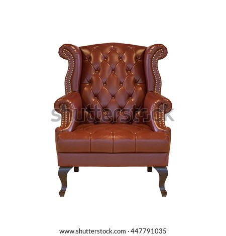 Brown classical style Armchair sofa couch in vintage room isolated on white background