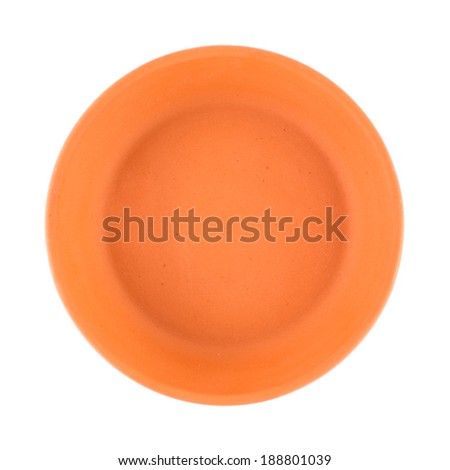 Brown clay saucer isolated, top view. - stock photo