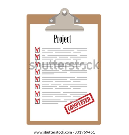 Brown clipboard and project list with check boxes marked with red rubber stamp completed raster illustration. Survey icon, checklist icon