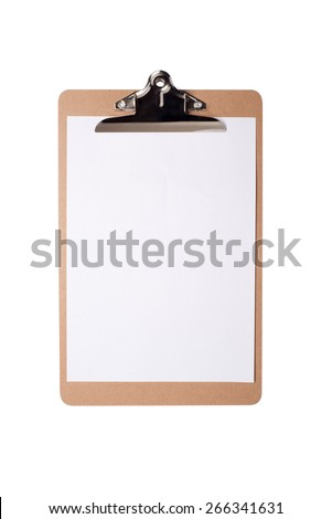 Brown clipboard with blank white paper on isolated background