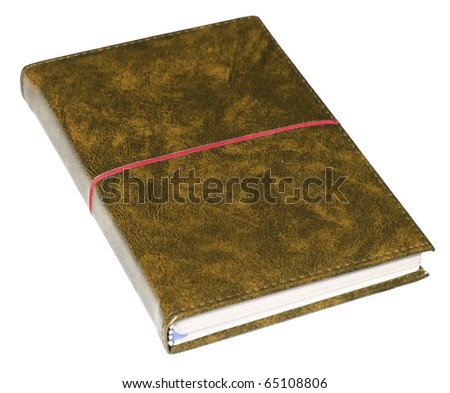 Brown closed business leather book  isolated over white background