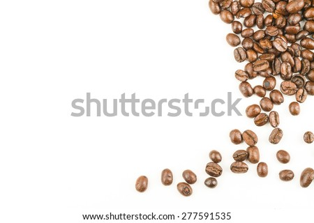 brown coffee bean with white background