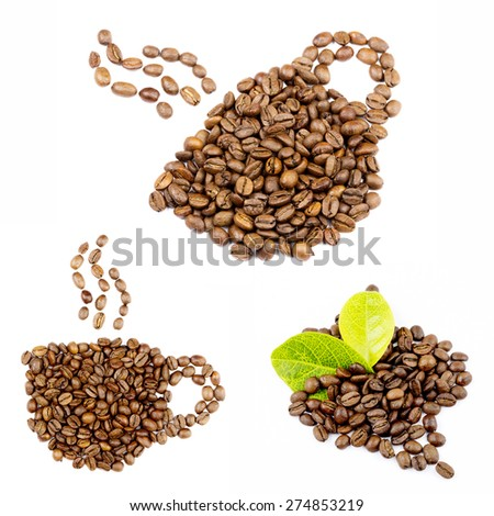Brown Coffee Beans collage - stock photo