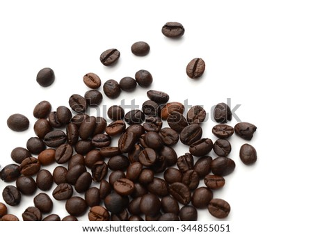 brown coffee beans isolated on isolated white background - stock photo