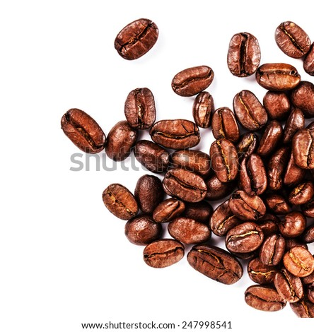 Brown coffee beans isolated on white background macro. Roasted Coffee Beans background texture.  - stock photo
