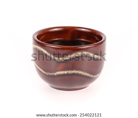 Brown coffee cup on white background with  - stock photo
