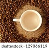 Brown coffee cups with saucers, coffee beans and bowk, star anise on sacking background. Retro - stock photo