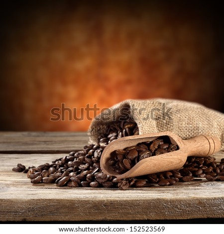 brown coffee in sack  - stock photo