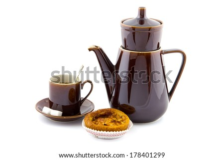 brown coffee pot, cup and saucer and apple pie isolated - stock photo