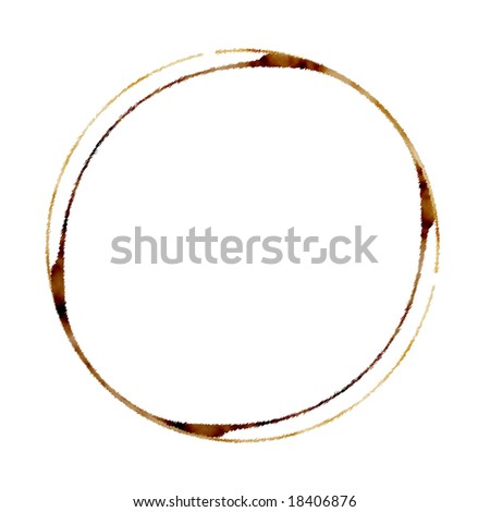 brown coffee stain on a white background