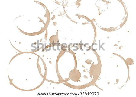 brown coffee stains isolated on white background