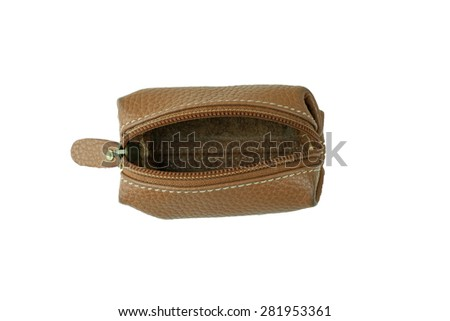 Brown Coin Purse with white background