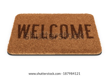 Brown coir doormat with text Welcome isolated on white background - stock photo