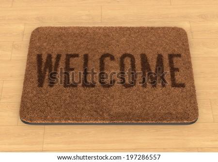 Brown Coir Doormat With Text Welcome On Wooden Floor