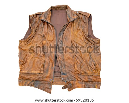 Brown color leather vest, isolated on white - stock photo