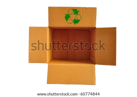 Brown color recycle paper box - stock photo