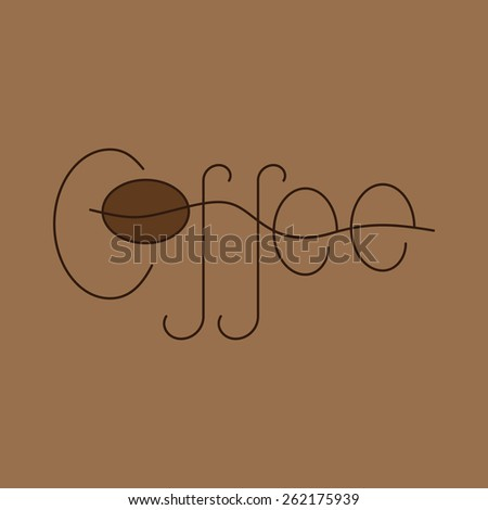 Brown colored lettering coffee isolated on beige background. Logo template, design element - stock photo