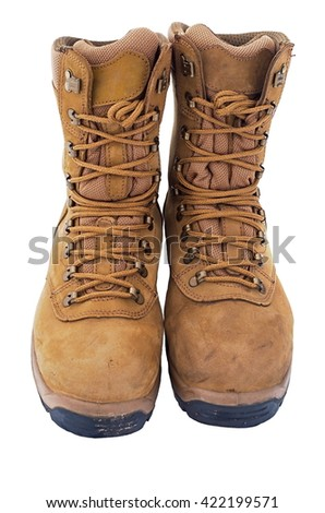 brown combat boots isolated on white background - stock photo