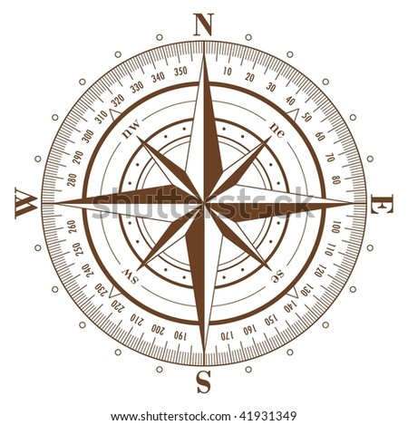 Brown compass rose isolated on white - stock photo