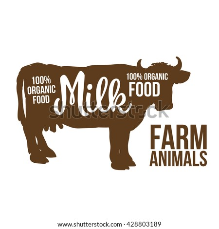 brown contour cow farm animals with a white inscription inside, cow animals, cattle, horned animal, domestic cow, food, animal outline for the product with lettering on the beef meat - stock photo