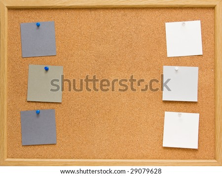 brown corkboard with important message