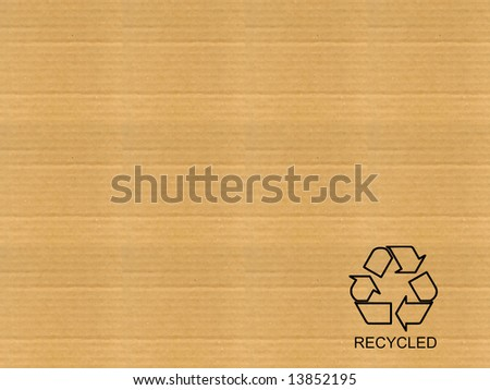 Brown corrugated cardboard sheet background with recycled sign - stock photo