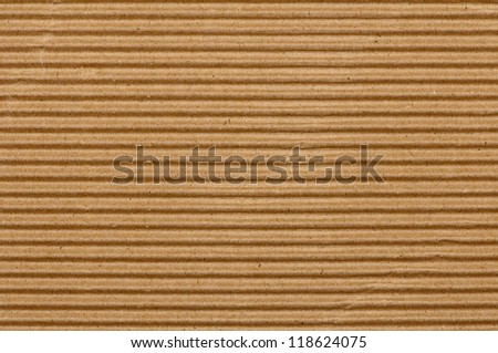 brown corrugated cardboard texture, striped horizontally paper - stock photo