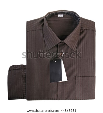Brown cotton shirt isolated on white background - stock photo