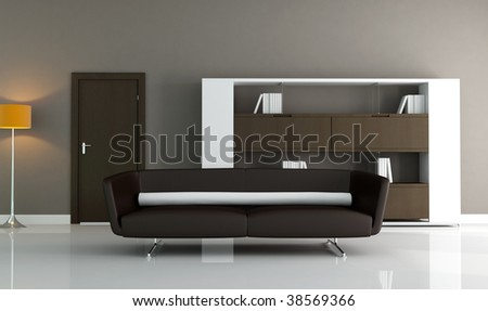 brown couch and modern bookcase in a minimal lounge - stock photo