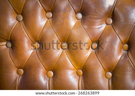 Brown couch leather background - stock photo