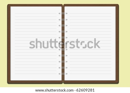 Brown cover notebook on yellow color background
