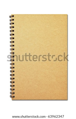 brown cover notebook recycle paper isolated on white background - stock photo