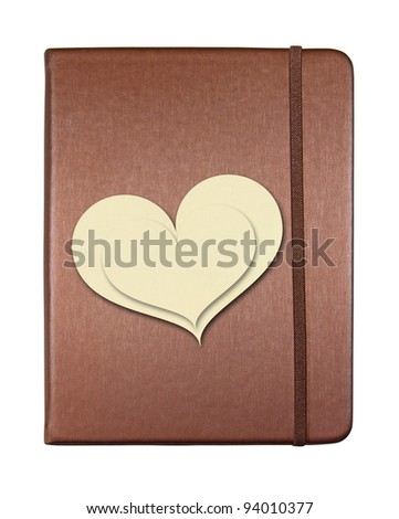 Brown cover notebook with heart shape paper isolated on white background