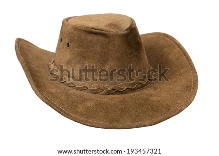 Brown cowboy leather hat isolated over white with clipping path. - stock photo