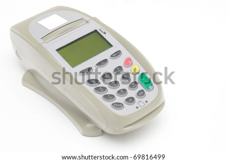 Brown Credit Card Terminal - stock photo