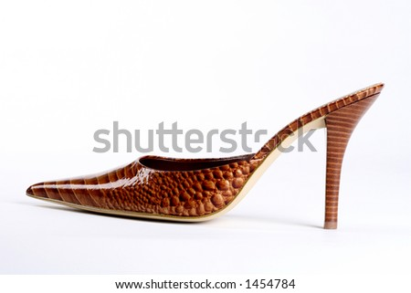 brown crocodile print high heels