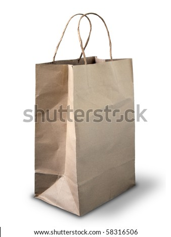 Brown Crumpled paper bag on white floor - stock photo