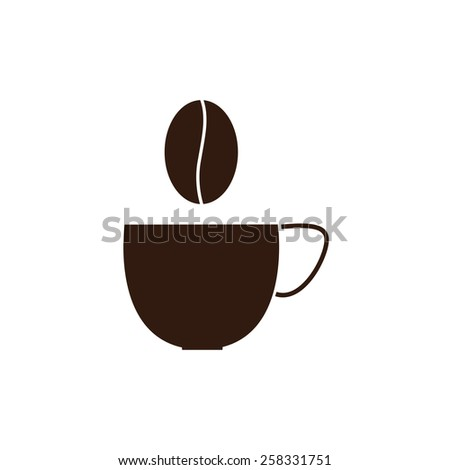Brown cup of coffee and coffee grain over it isolated on white background. Logo template - stock photo